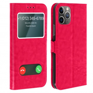 Apple iPhone 11 Pro Flip Cover Doppelfenster & Standfunktion - Rosa