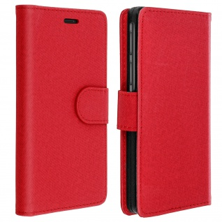 Universal Klapphülle, Etui mit Geldbörse für Smartphones Größe L - Rot