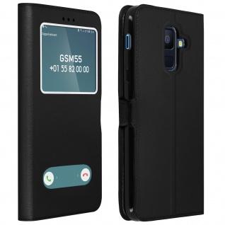 Flip Cover Doppelfenster & Standfunktion für Samsung Galaxy A6 Plus - Schwarz