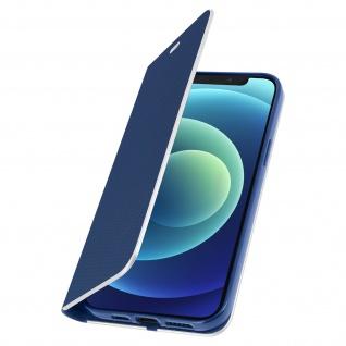 Apple iPhone 12 / 12 Pro Klappetui, Cover mit Carbon Design ? Dunkelblau - Vorschau 2