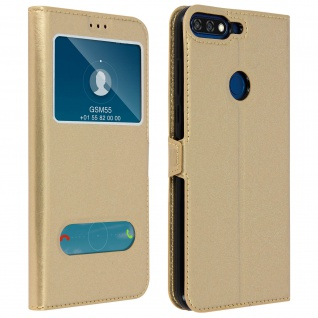 Doppelfenster Flip Cover Honor 7A / Huawei Y6 2018 mit Standfunktion - Gold