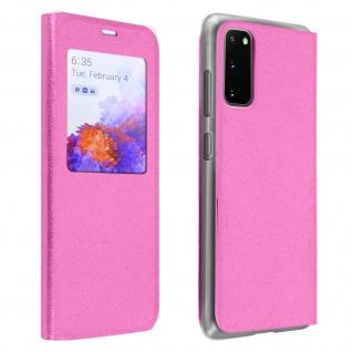 Klapphülle mit Sichtfenster & Kartenfach für Samsung Galaxy S20 - Rosa