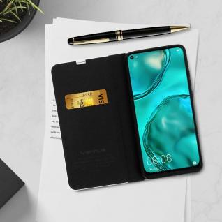 Huawei P40 Lite Klappetui, Cover mit Carbon Design & Ständer ? Schwarz - Vorschau 4