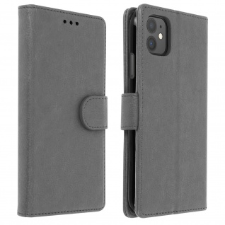 Flip Cover Geldbörse, Klappetui Kunstleder für Apple iPhone 11 - Grau