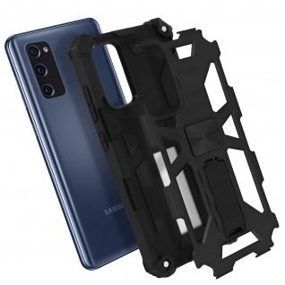 Samsung Galaxy S20 FE Handyhülle mit Ständer, Metallic Design - Schwarz