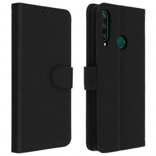 Flip Cover Geldbörse, Klappetui Kunstleder für Huawei Y6p ? Schwarz