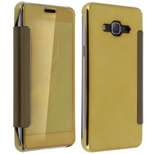 Goldene Clear View Schutzhülle für Samsung Galaxy J3 - Vorschau 3