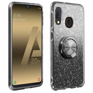 Glitter Silikonhülle mit Ring Halterung für Samsung Galaxy A20e - Schwarz