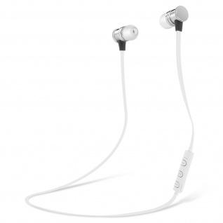 Bluetooth magnetische in-ear Kopfhörer, Fernbedienung + Mikrofon - Weiß/Silber