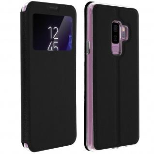 Galaxy S9 Plus Flip Cover Sichtfenster & Kartenfach Schwarz - Standfunktion