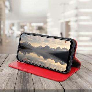 Business Leder Cover, Schutzhülle mit Geldbörse für Huawei P Smart 2019 - Rot - Vorschau 4