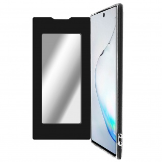 Spiegel Hülle, dünne Klapphülle für Samsung Galaxy Note 10 - Schwarz