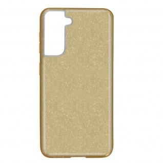 Schutzhülle, Glitter Case für Samsung Galaxy S21, shiny & girly Hülle â€? Gold