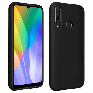 Halbsteife Silikon Handyhülle Huawei Y6p, Soft Touch - Schwarz