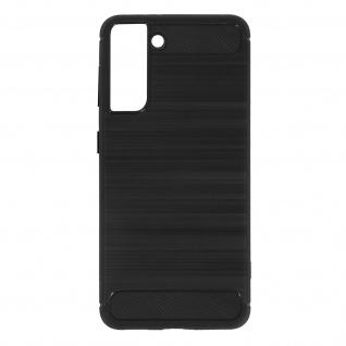Samsung Galaxy S21 Plus Schutzhülle mit Aluminium und Carbon Design ? Schwarz