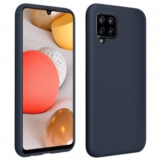 Halbsteife Silikon Handyhülle für Samsung Galaxy A42 5G, Soft Touch ? Dunkelblau