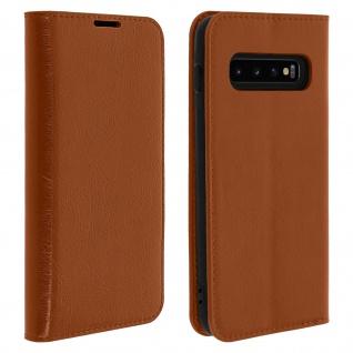 Business Leder Cover, Schutzhülle mit Geldbörse für Galaxy S10 Plus - Hellbraun