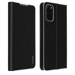 Samsung Galaxy S20 Plus Klappetui, Cover mit Carbon Design & Ständer - Schwarz