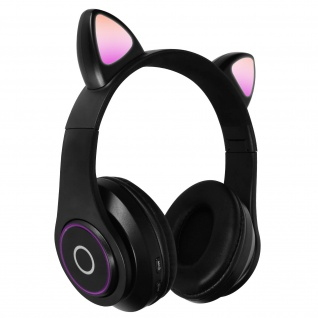 Katzenohren kabellose 5.0 Bluetooth Kopfhörer, Kitty Headset ? Schwarz