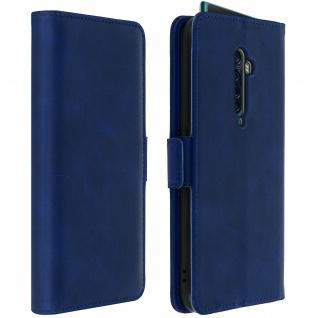 Soft Touch Flip-Cover Geldbörse mit Standfunktion für Oppo Reno 2 - Dunkelblau