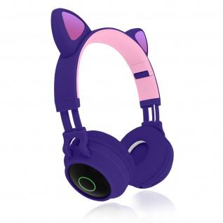 Katzenohren kabellose Bluetooth Kopfhörer, Kitty Headset ? Violett - Vorschau 2