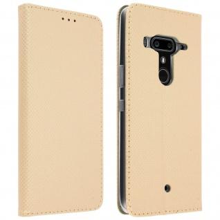 HTC U12 Plus Flip Cover mit Kartenschlitz & Standfunktion - Gold