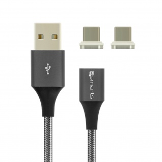 Kabel USB 2.0 zu USB-C 3A 2x abnehmbare Magnetenden 1m 4Smarts Grau