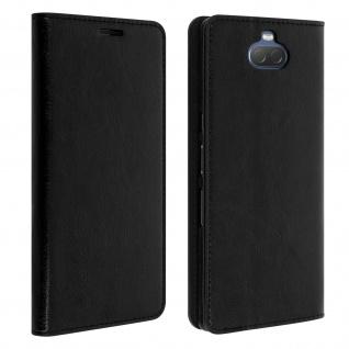 Business Leder Cover, Schutzhülle mit Geldbörse für Sony Xperia 10 - Schwarz