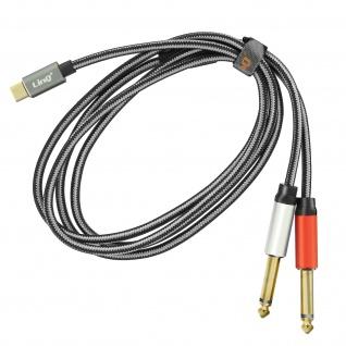 USB-C /2x 6, 35 mm Klinkenstecker Audiokabel, Nylon geflochten, 1, 5m, LinQ - Grau