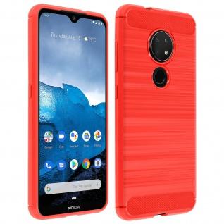 Nokia 7.2 , Nokia 6.2 Silikon Schutzhülle mit Carbon/Aluminium Look - Rot