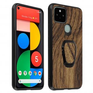 Google Pixel 5 Hybrid Schutzhülle mit Holz Muster und Ring-Halterung ? Braun