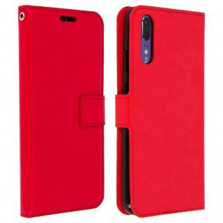 Flip Cover Stand Case Brieftasche & Standfunktion für Huawei P20 - Rot