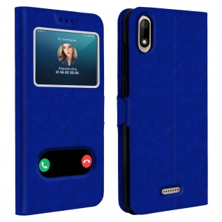 Wiko Y60 Flip Cover Doppelfenster & Standfunktion - Blau