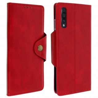 Sixties Style Klappetui, Hülle mit Geldbörse für Samsung Galaxy A50 - Rot