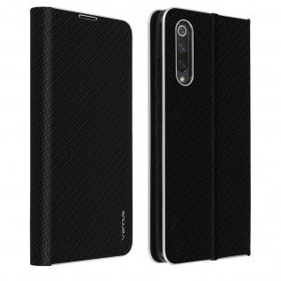 Xiaomi Mi 9 Lite Klappetui, Cover mit Carbon Design & Ständer - Schwarz