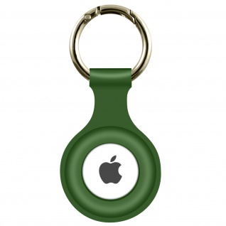 AirTag Soft Touch Schlüsselanhänger aus Silikon, mit Metallring ? Dunkelgrün