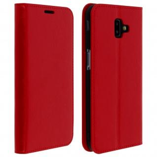 Business Leder Cover, Schutzhülle mit Geldbörse für Galaxy J6 Plus - Rot