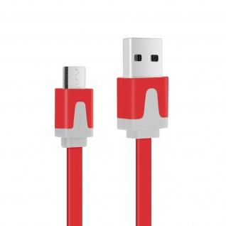 Micro-USB/ USB 3m Flachkabel - Aufladen / Synchronisierung - Rot