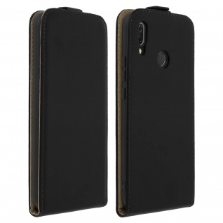 Vertikale Klapphülle, Schutzhülle für Huawei P Smart Plus Echtleder - Schwarz