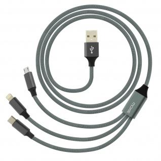 Moxie 3in1 Ladekabel mit Lightning USB-C und Micro USB Anschluss 3A - Grau