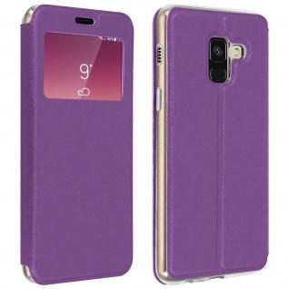 Galaxy A8 Flip Case mit Sichtfenster und Kartenfach Violett - Standfunktion