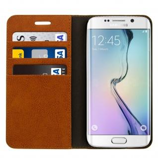 Galaxy S6 Edge Flip-Schutzhülle aus Echtleder im Brieftaschenstil - Braun - Vorschau 3