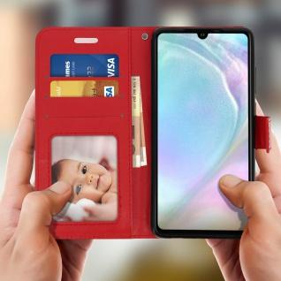 Flip Stand Cover Brieftasche & Standfunktion für Huawei P30 - Rot - Vorschau 3