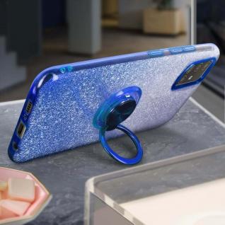Glitter Silikonhülle mit Ring Halterung für Samsung Galaxy A51 - Blau - Vorschau 3