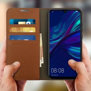 Business Leder Cover, Schutzhülle mit Geldbörse Huawei P Smart 2019 - Hellbraun - Vorschau 3