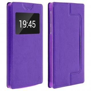 Universal Klappetui, Hülle mit Sichtfenster für Smartphones Größe 3XL - Violett