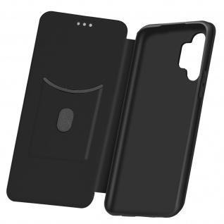 Samsung Galaxy A32 5G Klappetui, Cover mit Carbon Design & Ständer - Schwarz