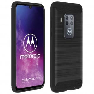 Motorola One Zoom Silikon Schutzhülle mit Carbon/Aluminium Look - Schwarz