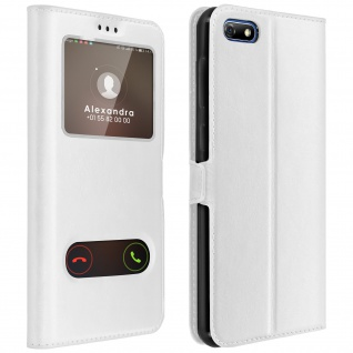 Huawei Y5 2018, Honor 7S Flip Cover mit Doppelfenster & Standfunktion - Weiß