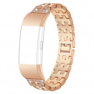 FitBit Charge 2 Armband Diamonds, Edelstahl Armband Butterfly-Faltschließe? Gold
